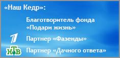 <Наш Кедр> - благотворитель фонда Дины Корзун и Чулпан Хаматовой <Подари Жизнь>, Партнер Первого канала и канала НТВ